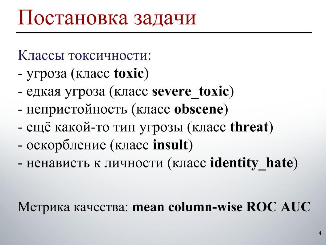 Выявление и классификация токсичных комментариев. Лекция в Яндексе - 2