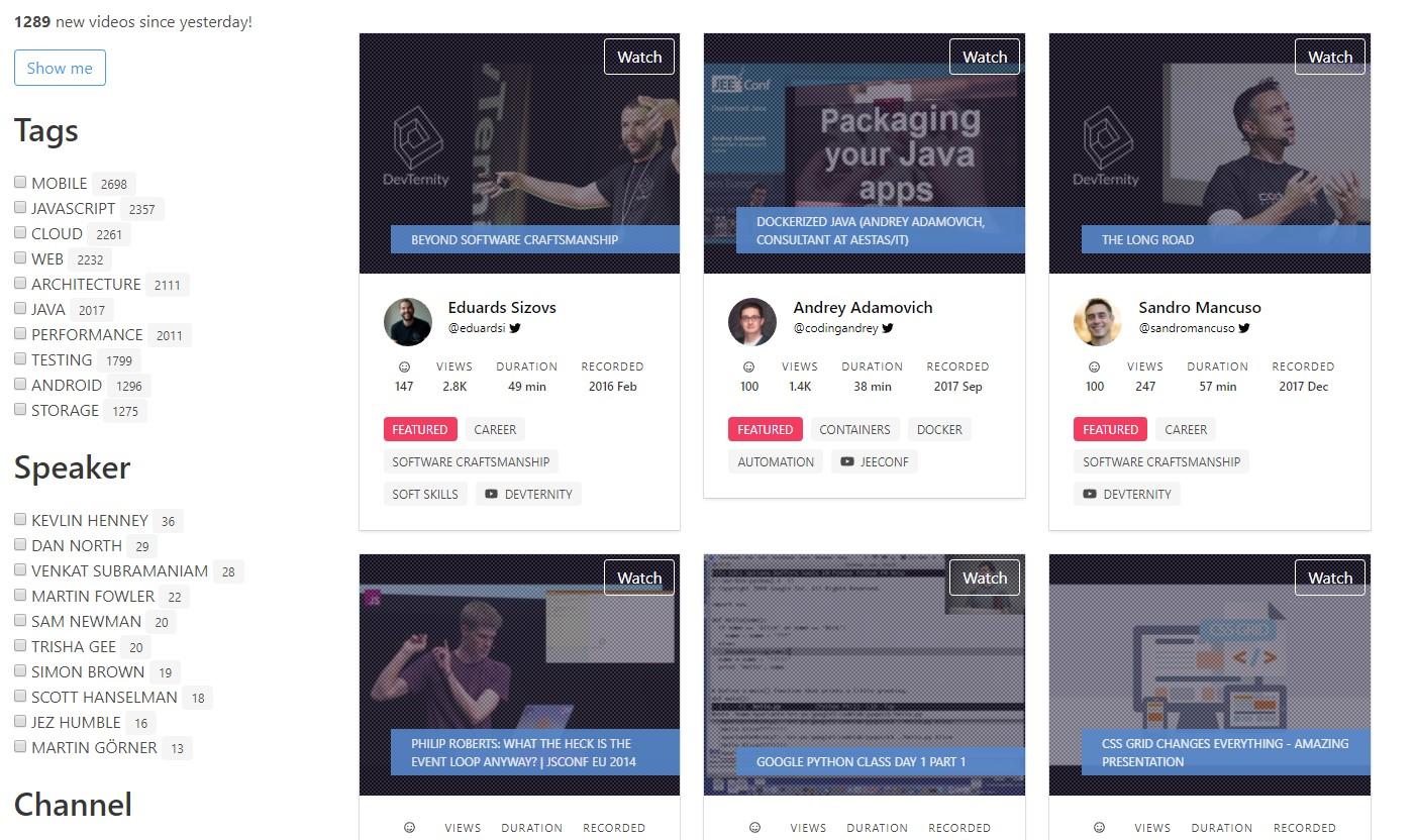 DevTube — новый Open source-агрегатор видеоматериалов для разработчиков - 1