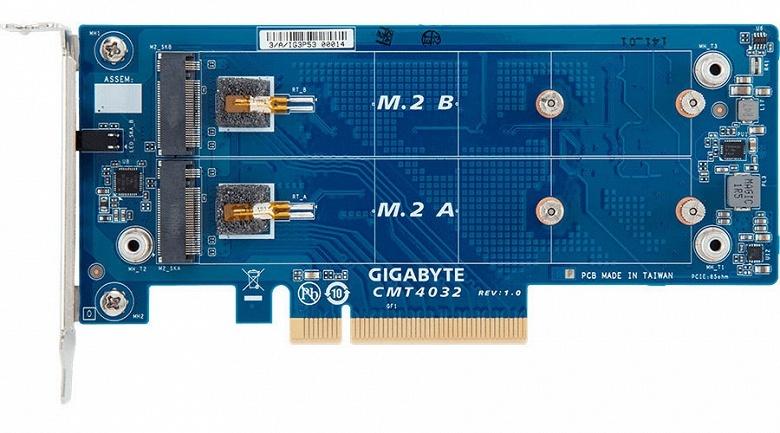 Платы расширения Gigabyte CMT4034 и CMT4032 позволяют подключить накопители M.2 к слоту PCIe