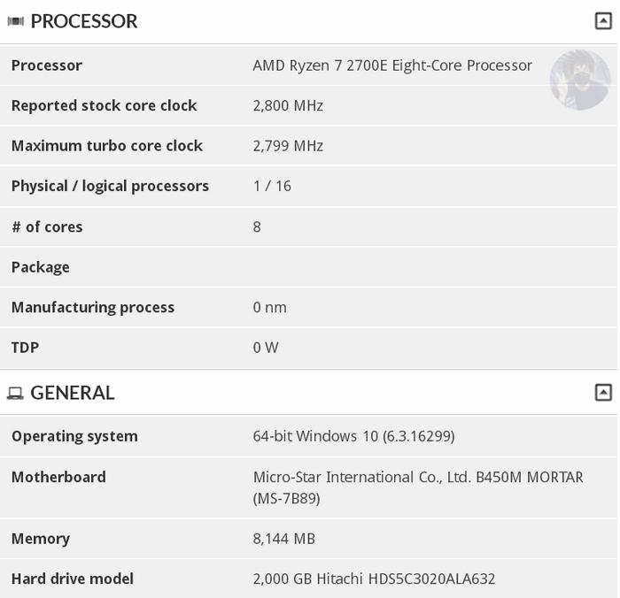 Процессор AMD Ryzen 7 2700E с пониженным энергопотреблением замечен в базе 3DMark