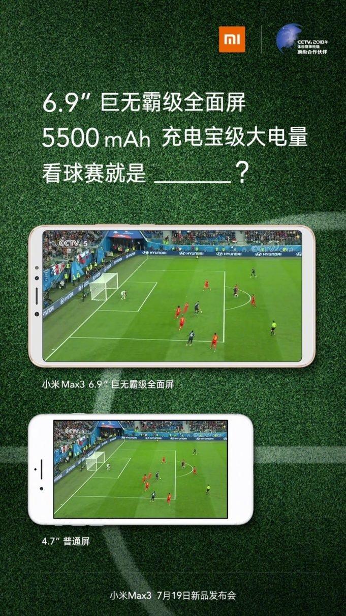 Официальный постер подтверждает емкость аккумулятора и размер экрана Xiaomi Mi Max 3
