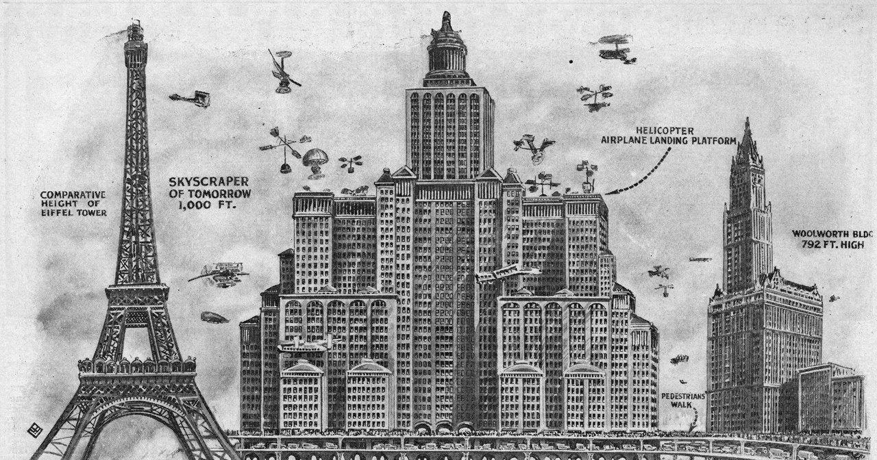 Как выглядел «небоскреб будущего» сто лет назад: колоссальный проект