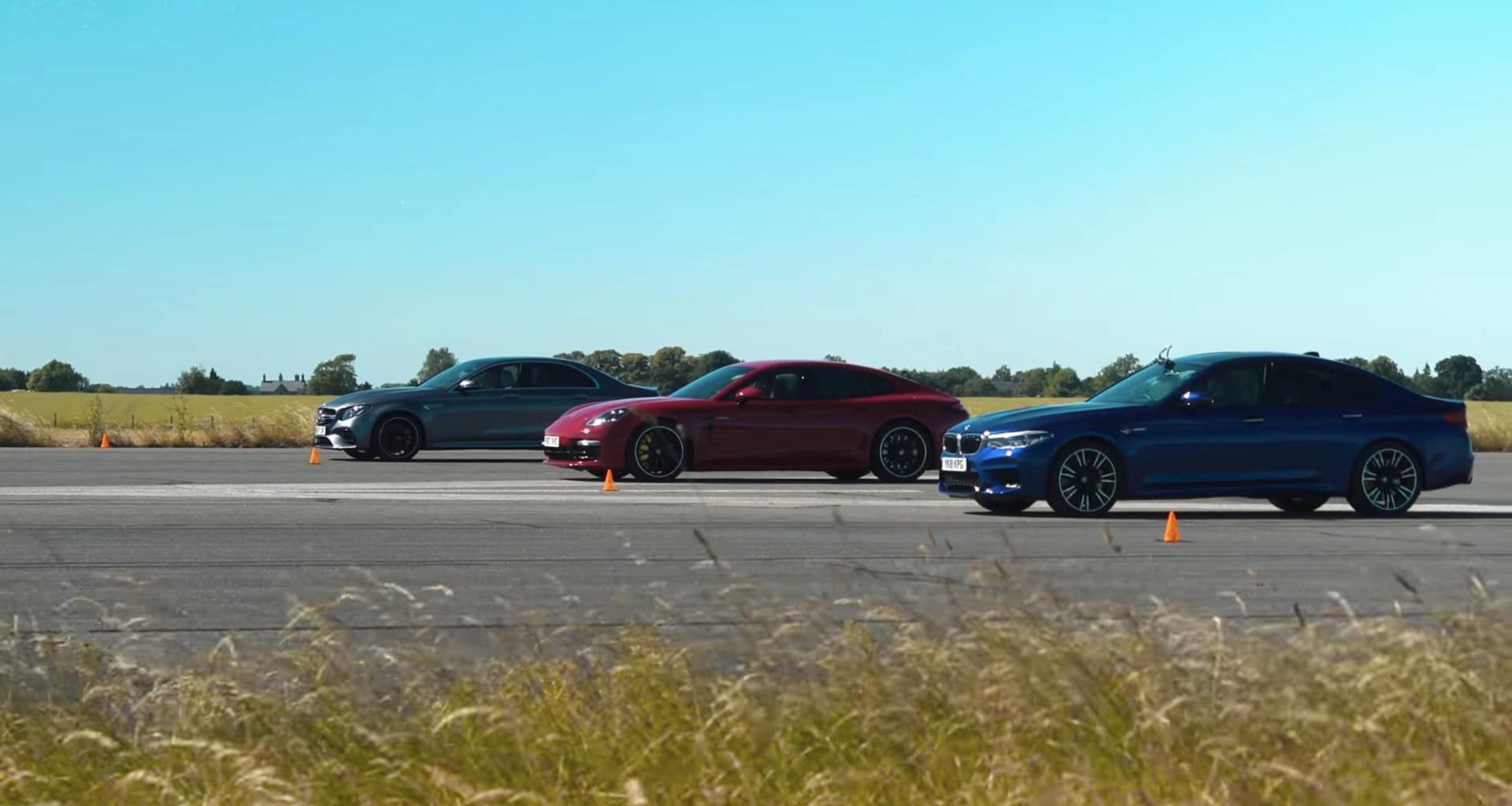 BMW M5, Mercedes-AMG E63 S и гибридный Porsche Panamera сравнили в дрэг-гонке