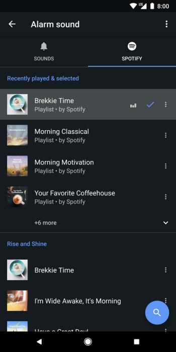 Обновление приложения Google Clock позволяет просыпаться под музыку из Spotify