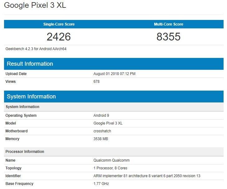 Google Pixel 3 XL протестирован в Geekbench