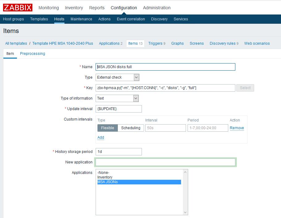 Использование Dependent items в Zabbix 4.0 на примере HPE MSA 2040-2050 - 2