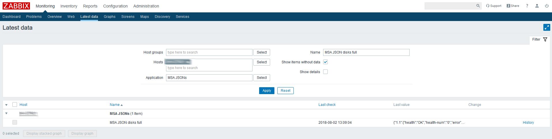 Использование Dependent items в Zabbix 4.0 на примере HPE MSA 2040-2050 - 3