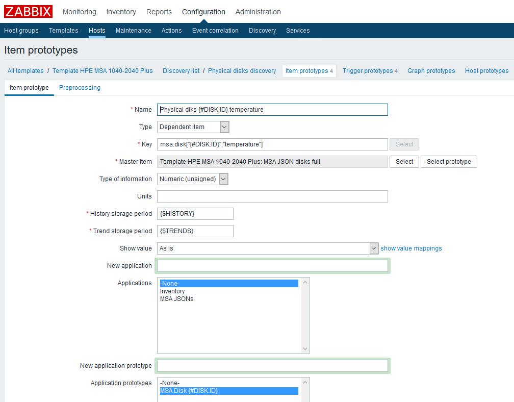 Использование Dependent items в Zabbix 4.0 на примере HPE MSA 2040-2050 - 5