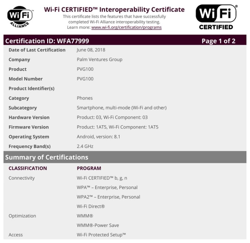 Новый смартфон Palm прошел сертификацию FCC
