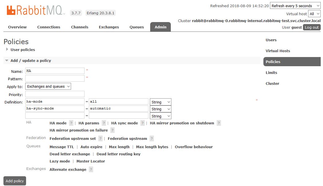 Запуск кластера RabbitMQ в Kubernetes