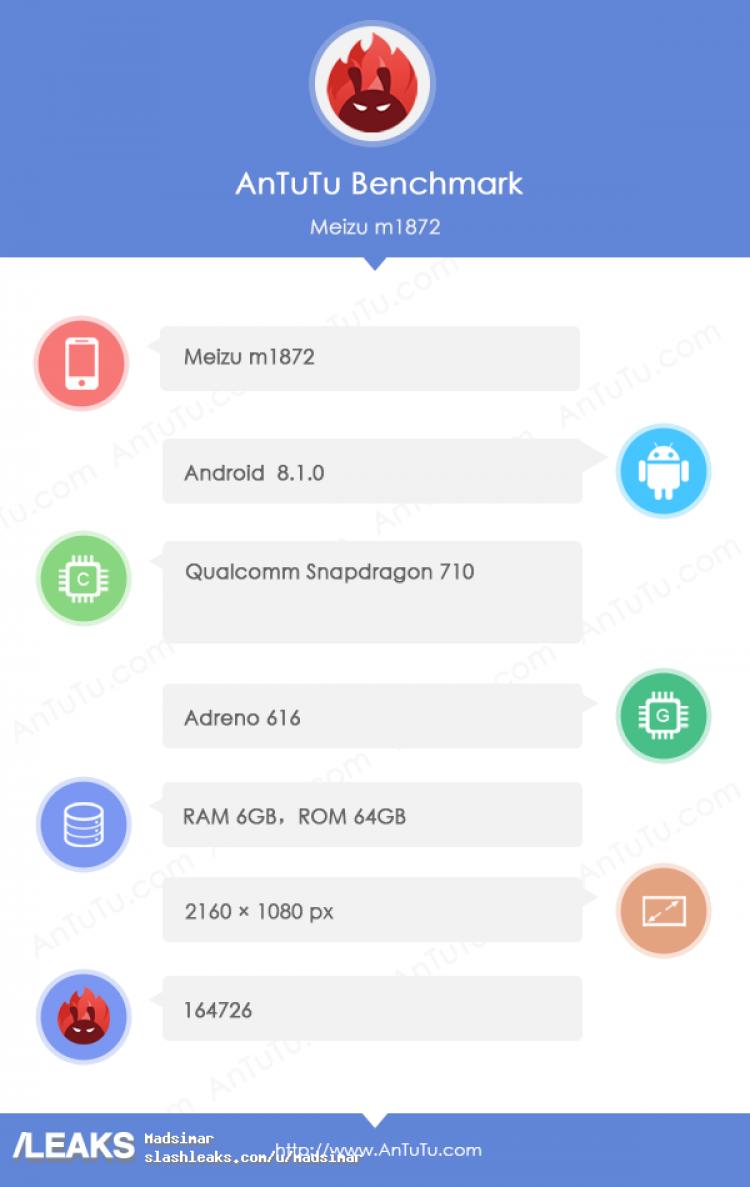 Смартфон Meizu 16X замечен в тесте AnTuTu