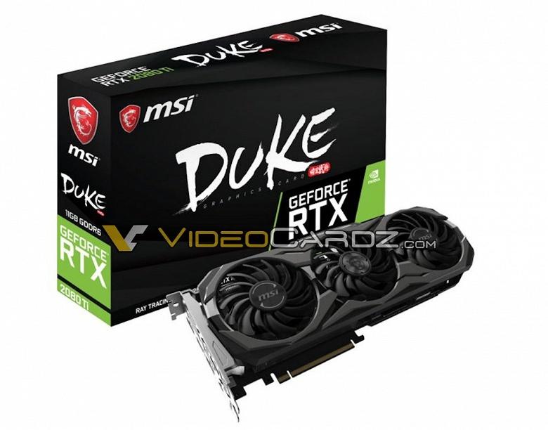 Стало известно, как выглядят 3D-карты MSI GeForce RTX 2080 Duke и GeForce RTX 2080 Ti Duke