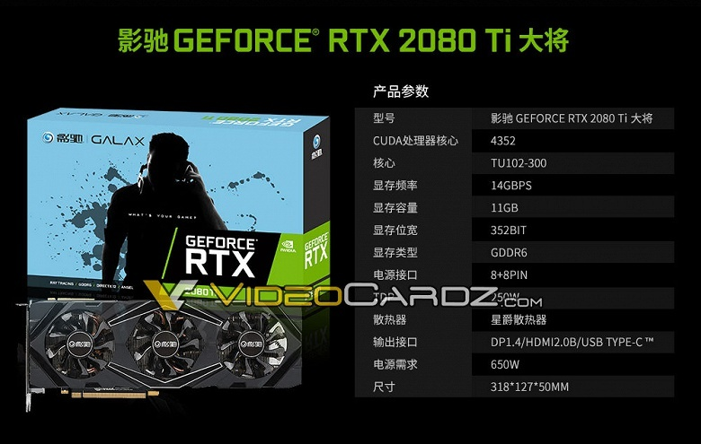 Galax GeForce RTX 2080 Ti: характеристики