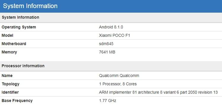 Смартфон Xiaomi Pocophone F1 показался в бенчмарке с 8 Гбайт ОЗУ