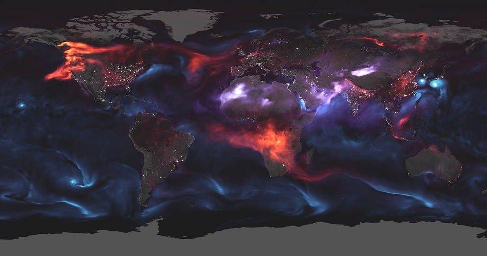 Глобальная карта распространения аэрозолей