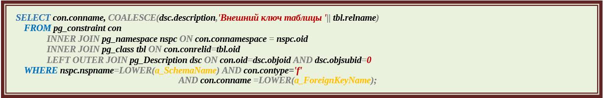 Функции для документирования баз данных PostgreSQL. Окончание - 10