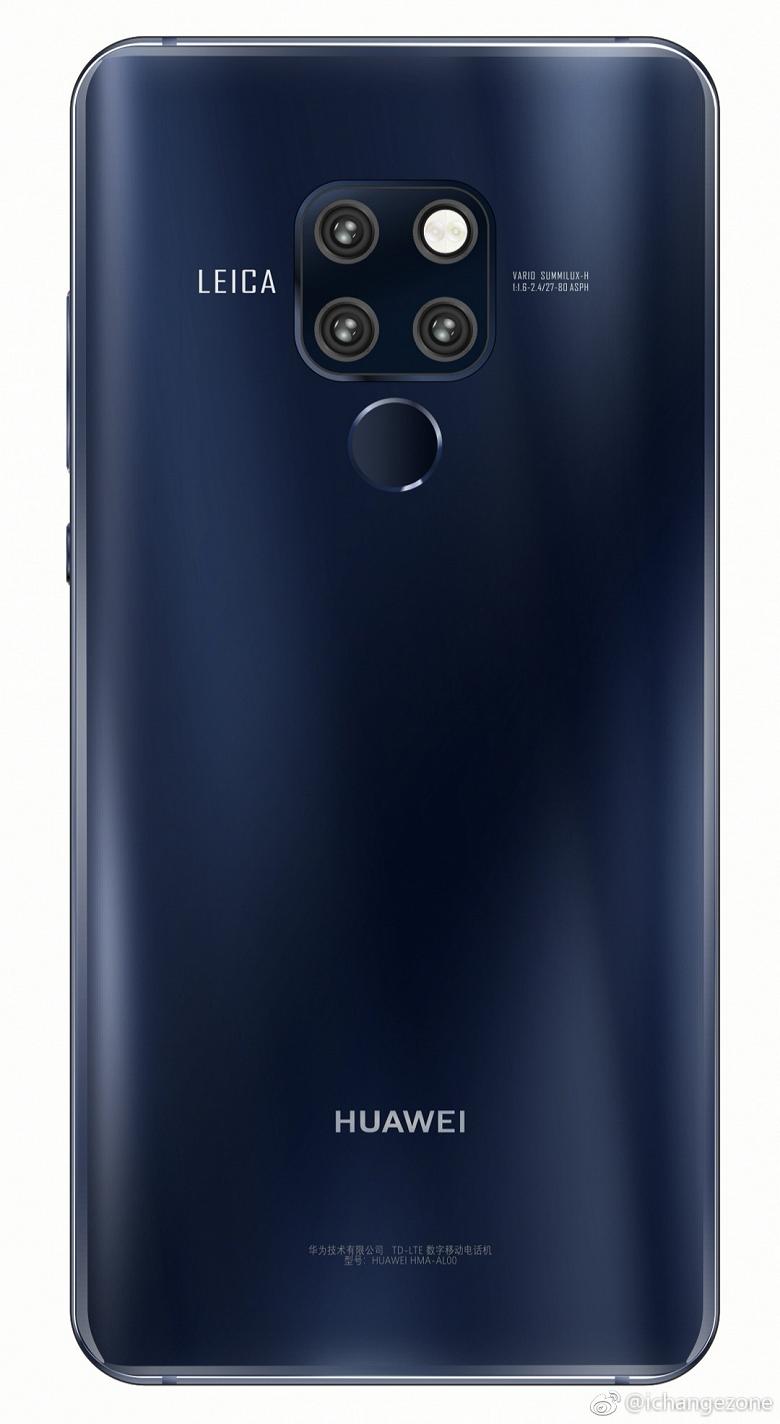 Флагманский камерофон Huawei Mate 20 Pro красуется на качественных рендерах