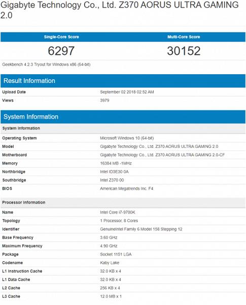 Восьмиядерный CPU Intel Core i9-9900K впечатляет производительностью в Geekbench