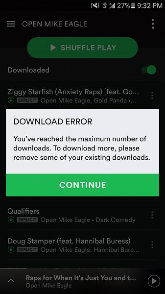 Spotify разрешил сохранять до 50 000 песен
