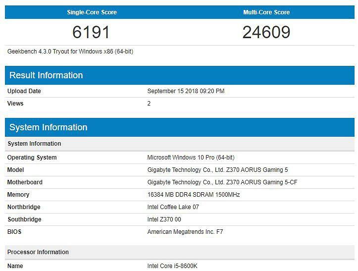 Intel Core i5-8600K в Geekbench