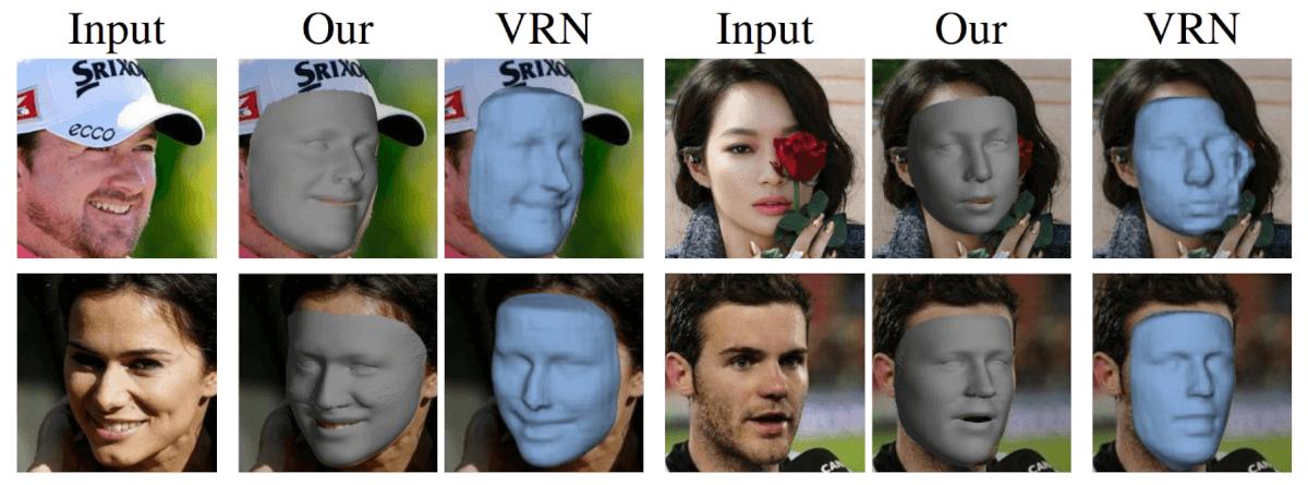 Результаты 3D реконструкции в сравнении с VRN от Jackson