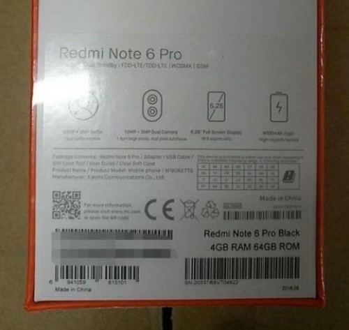 Смартфон Xiaomi Redmi Note 6 Pro получит четыре камеры