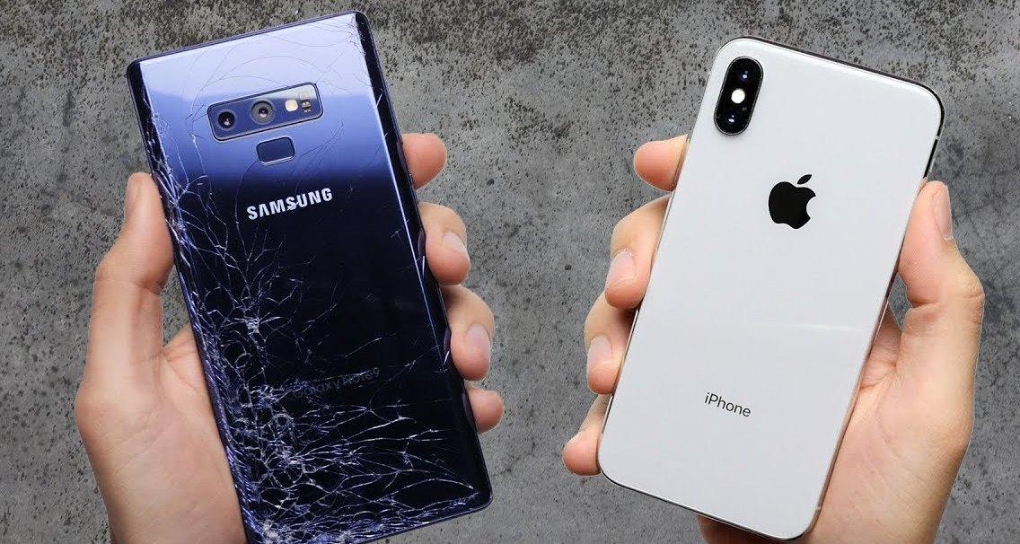 Samsung Galaxy Note9 против iPhone X: дроп-тест