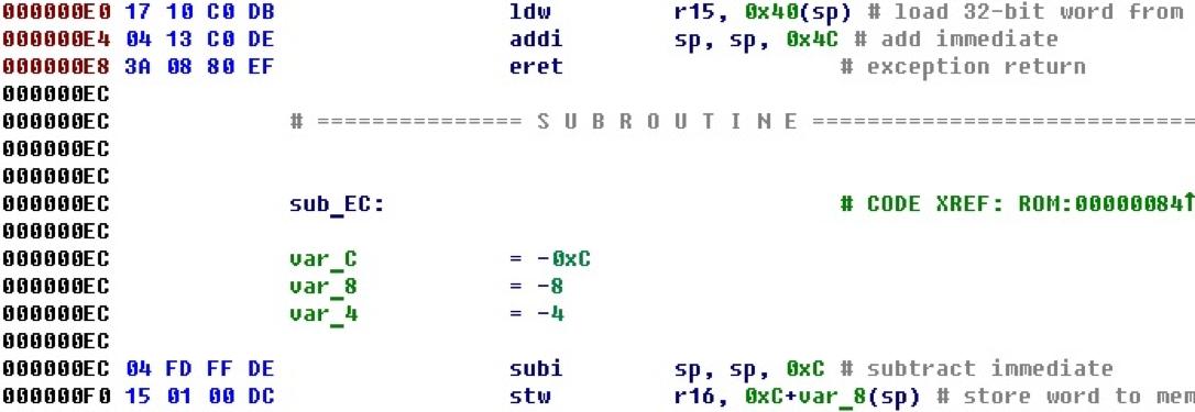 Разрабатываем процессорный модуль NIOS II для IDA Pro - 42