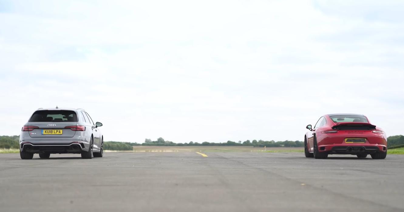 Porsche 911 GTS и Audi RS4 сравнили в дрэг-гонке