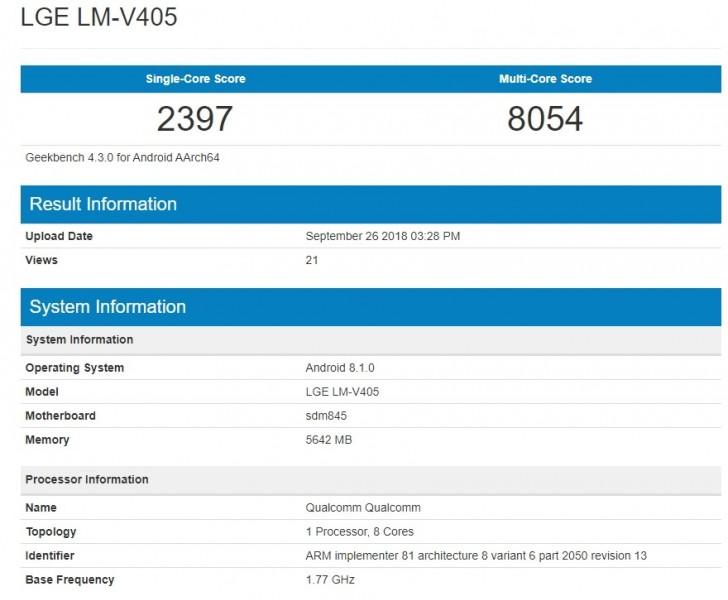LG V40 с пятью камерами появился в базе данных Geekbench