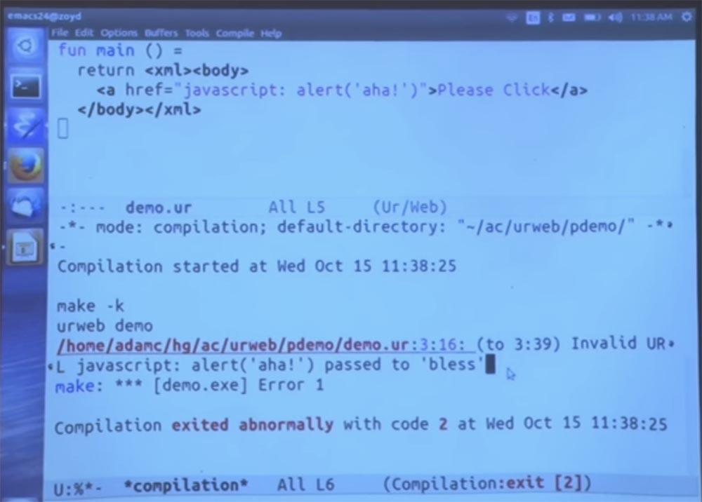 Курс MIT «Безопасность компьютерных систем». Лекция 11: «Язык программирования Ur-Web», часть 2 - 8