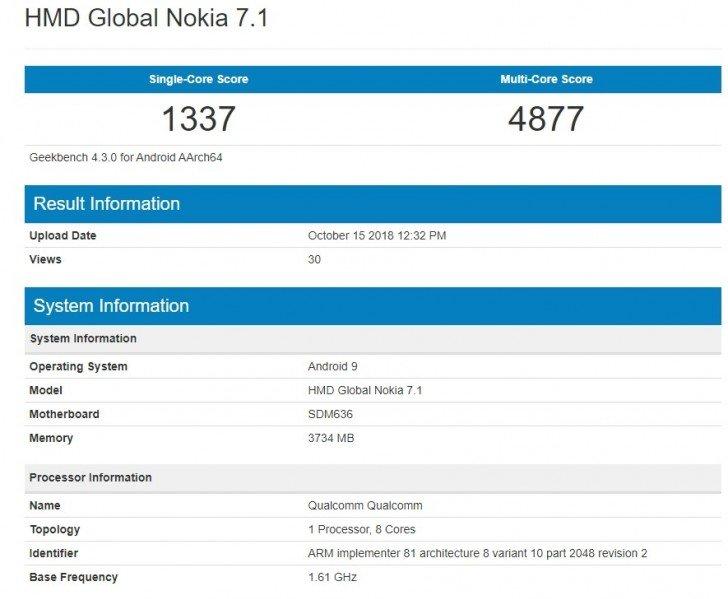 В тексте Geekbench замечен смартфон Nokia 7.1, работающий под управлением Android 9.0 Pie