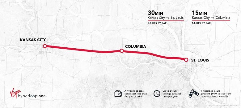 Ветка Hyperloop через весь штат Миссури получила положительное технико-экономическое обоснование