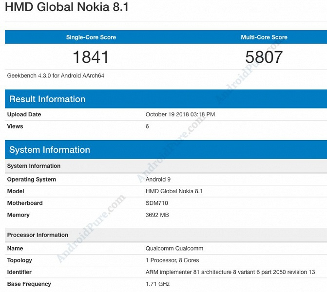 Смартфон Nokia 8.1 получил SoC Snapdragon 710 и ОС Android 9
