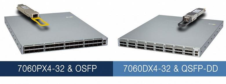 Конфигурация коммутаторов серии Arista Networks 7060X4 включает 32 порта 400 GbE