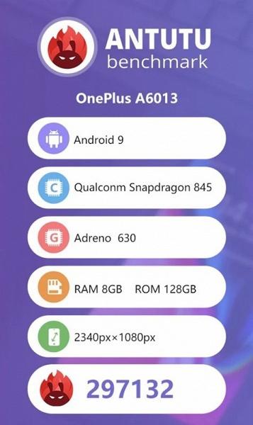 Смартфону OnePlus 6T не хватило самую малость, чтобы преодолеть отметку в 300 000 баллов в ПО AnTuTu