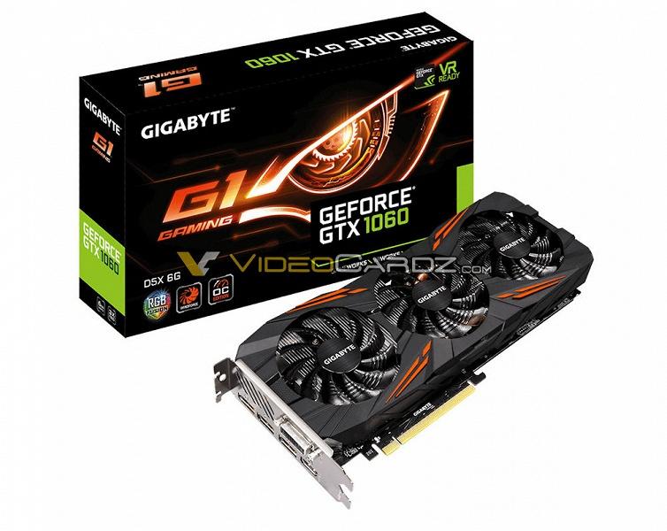 Видеокарта Gigabyte GeForce GTX 1060 с 6 ГБ памяти GDDR5X позирует на картинке