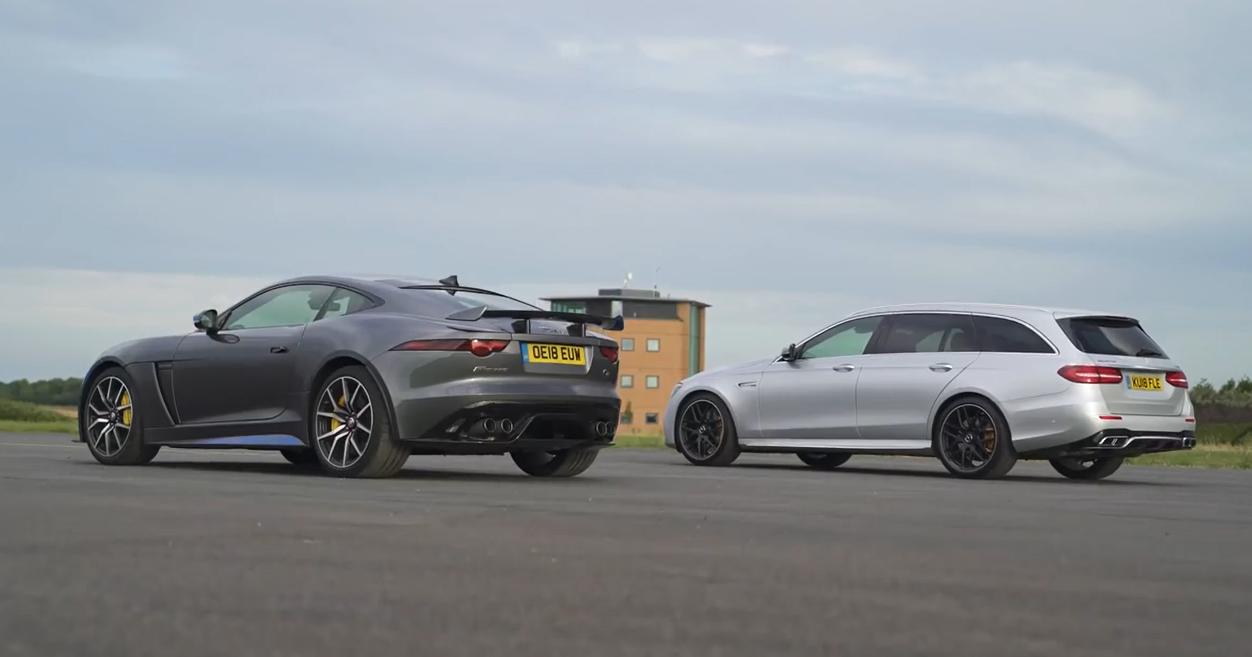 Jaguar F-Type SVR против Mercedes-AMG E63 S: дрэг-гонка