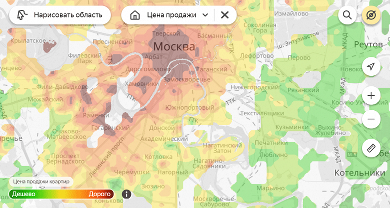 «Яндекс» представил тепловые карты цен на жилье