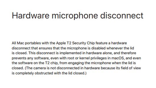 Новый чип Apple T2 затрудняет прослушку через встроенный микрофон ноутбука - 2
