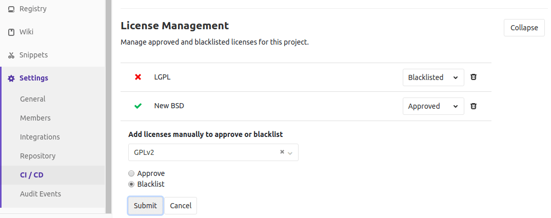 Add manual entries for License Management