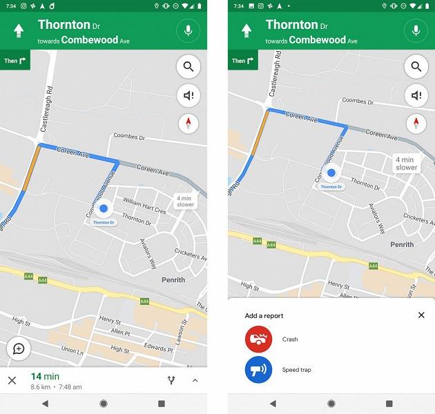 В картах Google появится возможность отмечать места аварий, камер контроля скорости и радаров