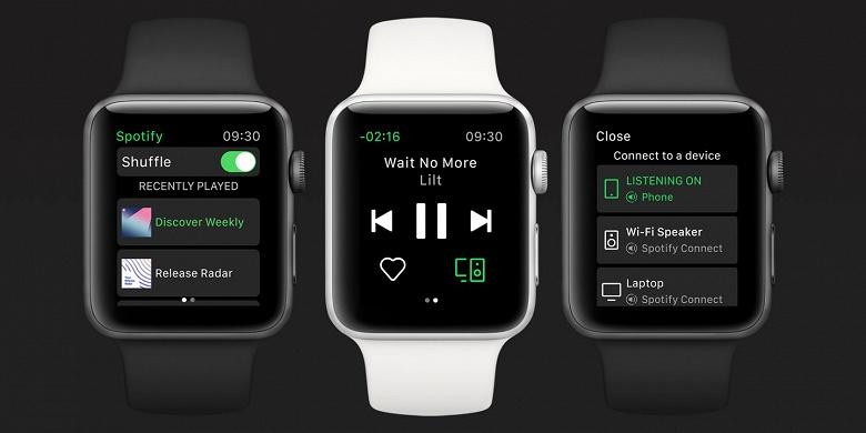 Вышло приложение Spotify для Apple Watch
