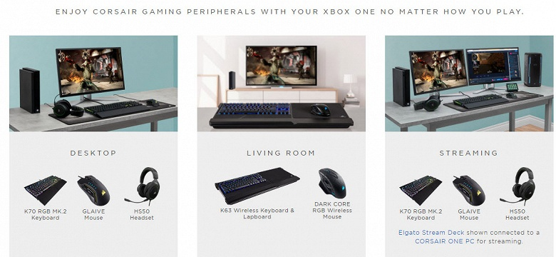 Клавиатуры и мыши Corsair подружатся с Xbox One