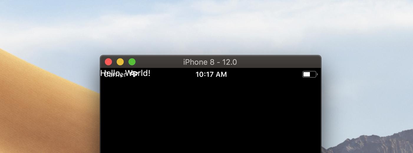 Скриншот запущенного приложения