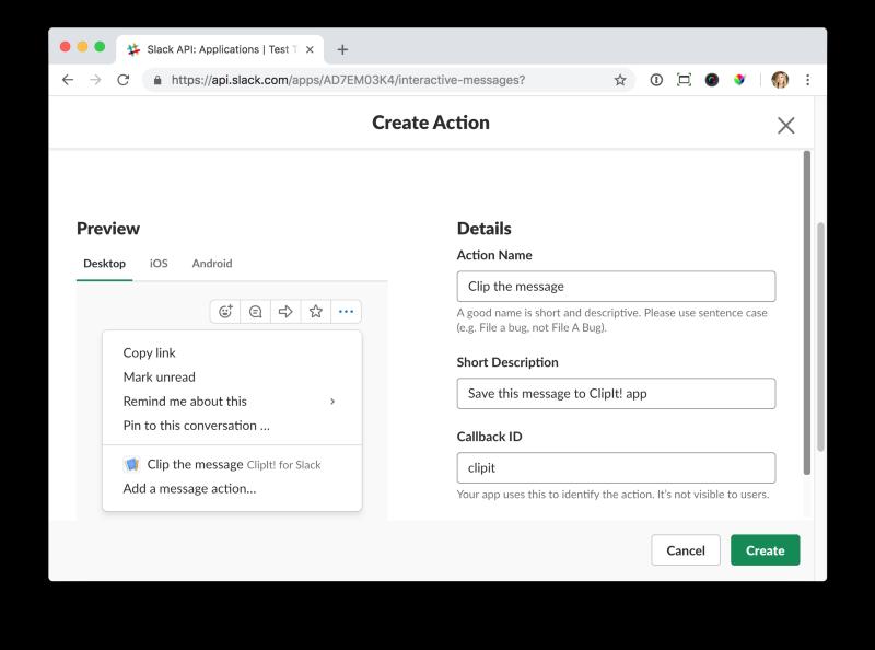 Разработка Action-able приложения для Slack - 6
