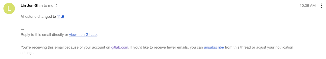 Milestone changed notification