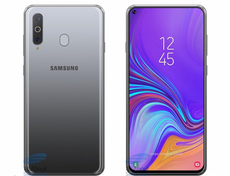 Качественное изображение смартфона Samsung Galaxy A8s позволяет оценить размеры отверстия для фронтальной камеры