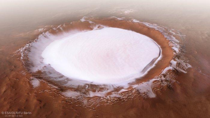 Рождественская открытка с Марса. ESA показало большое скопление льда на поверхности красной планеты - 1