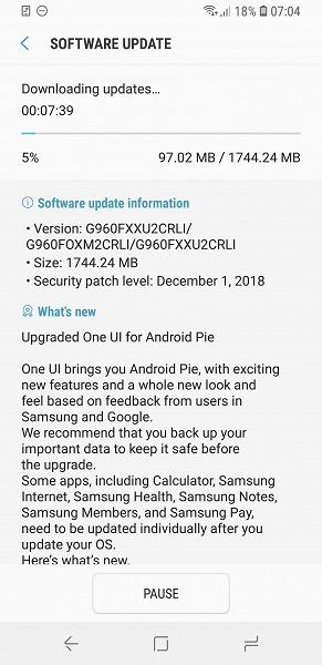 Вышла стабильная версия Android Pie с оболочкой One UI для смартфонов Samsung Galaxy S9 и Galaxy S9+